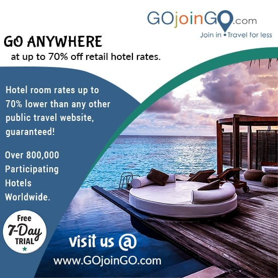 GOjoinGO: Go Anywhere at up to 70% off retail hotel rates.